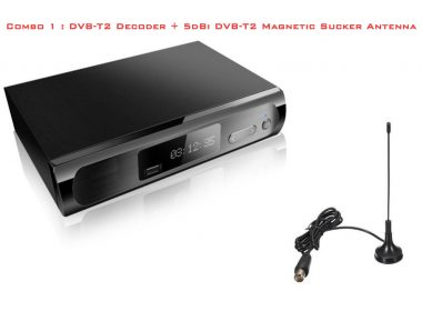 Combo 1 : DVB-T2 Decoder + 5dbi DVB-T2 whip antenna