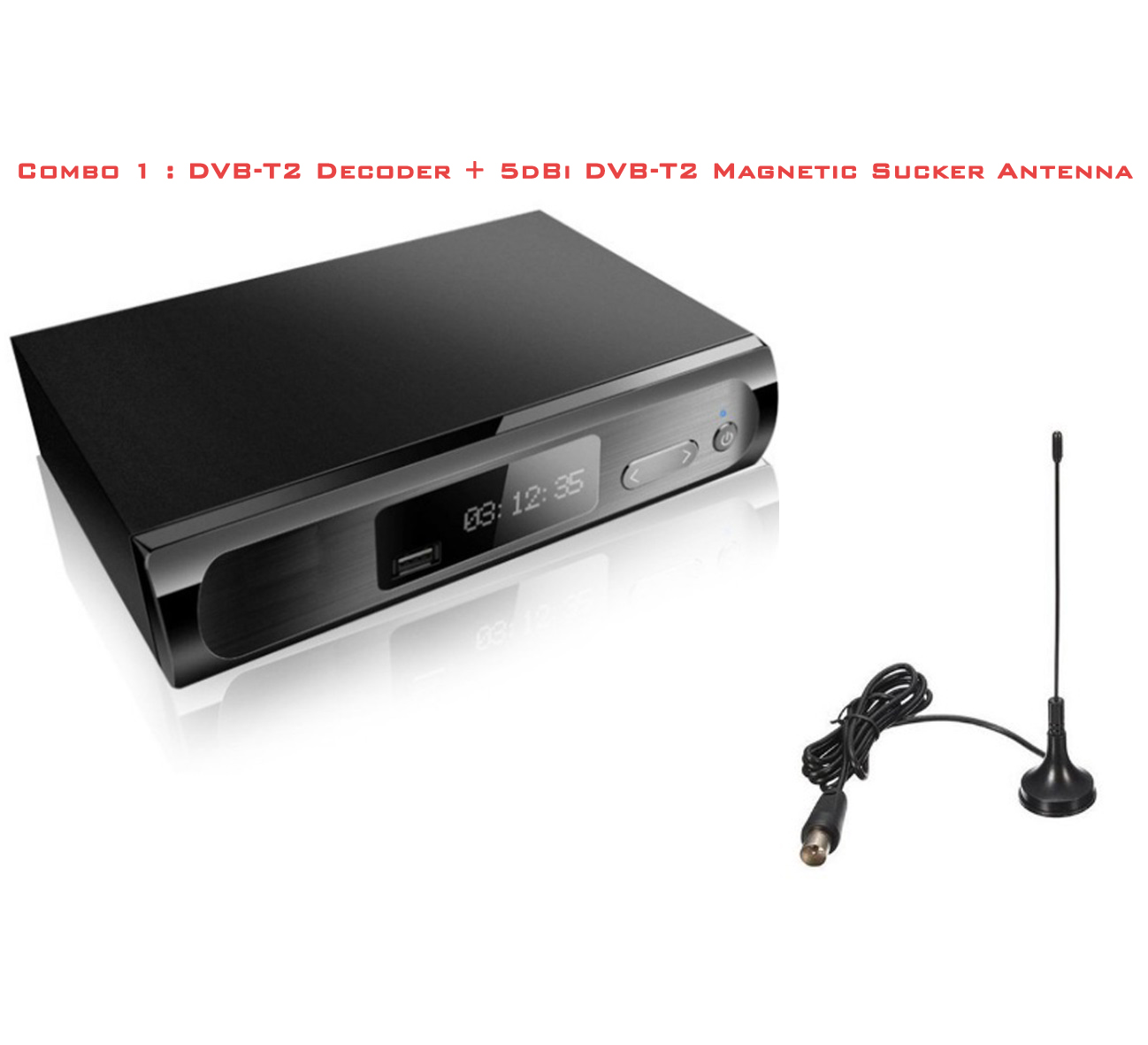 Combo 1 dvbt2 decoder and 5dbi antenna