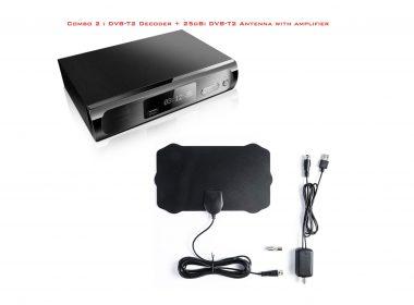 Combo 2 : DVB-T2 Decoder + 20dbi DVB-T2 antenna