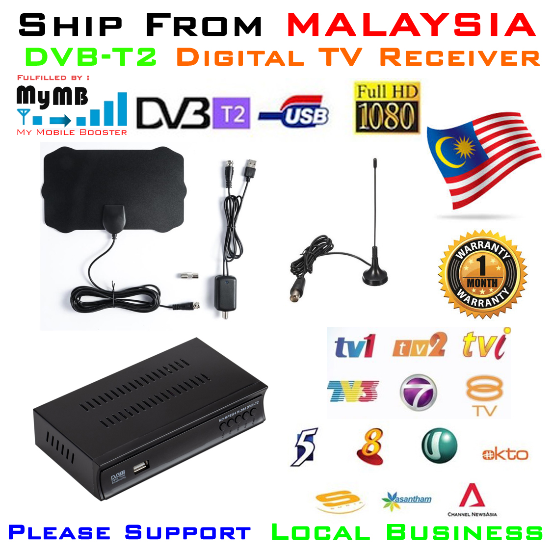 DVB-T2 Receiver decoder with DVB-T2 Antenna mymb new