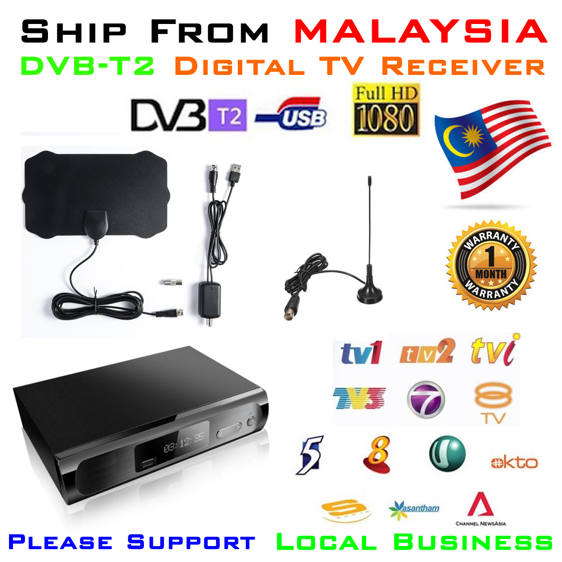 DVB-T2 Receiver decoder with DVB-T2 Antenna