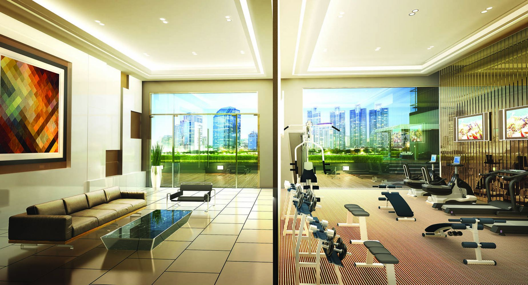 Shared Office Gym room and business lounge